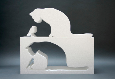 fill in the cat, table silhouette