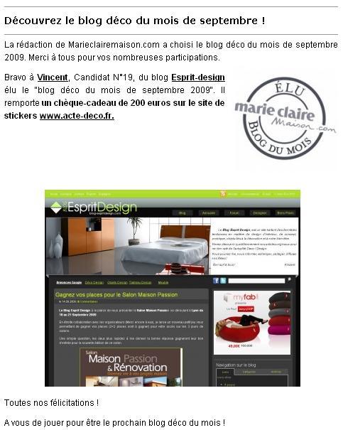 Le Blog Esprit Design élu Blog Deco du mois de Septembre