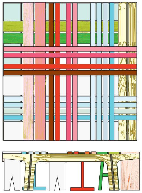 Banc hybride coloré par Raw Edges