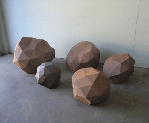 Roches pixelisées pour salon par WYATT STUDIO