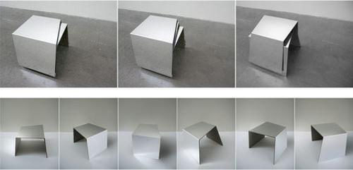 Tabouret Kal, angles et miroirs par Luna Seo