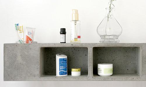 Béton pour salle de bain, étagère par Sascha Czerny