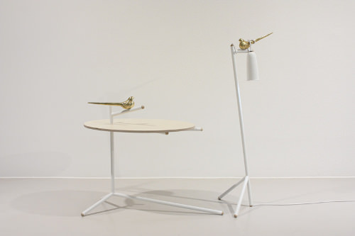 Collection Uccello, table + lampe + poésie par Monocomplex