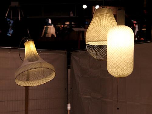 Collection Meshmatics, luminaire de bambou et grillage par Rick Tegelaar