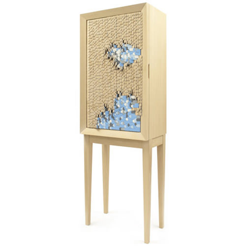 The cabinet is made of beech wood with a moving structure on the door ...