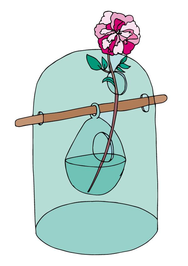 Vase TORI pour CFOC, Verre borosilicate- tige noyer- 30cmx20cm