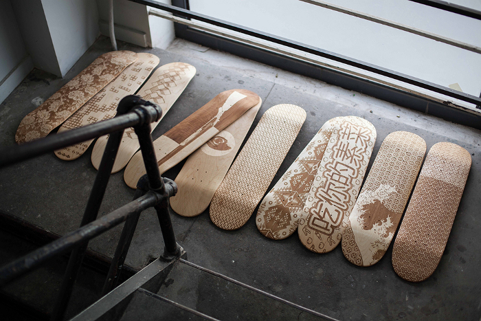 Lasercut Deck Line nouvelle collection de skate par Magnetic Kitchen