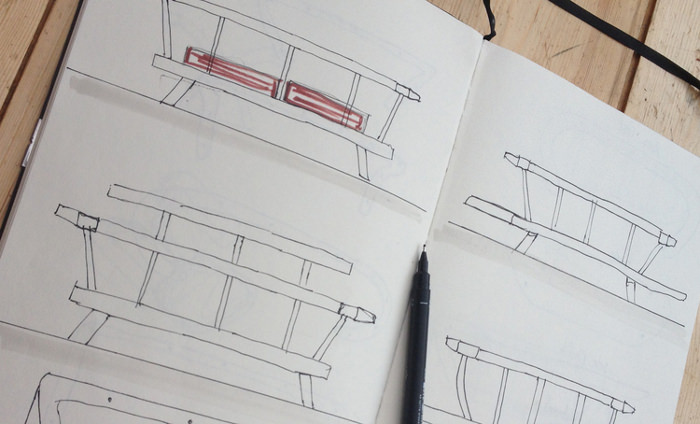 sketches croquis design fabrication banc