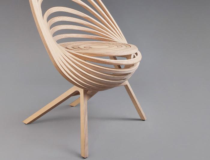Octave fauteuil design spirale bois france designer estampille 52 ecole boull - Fauteuil design en bois ...