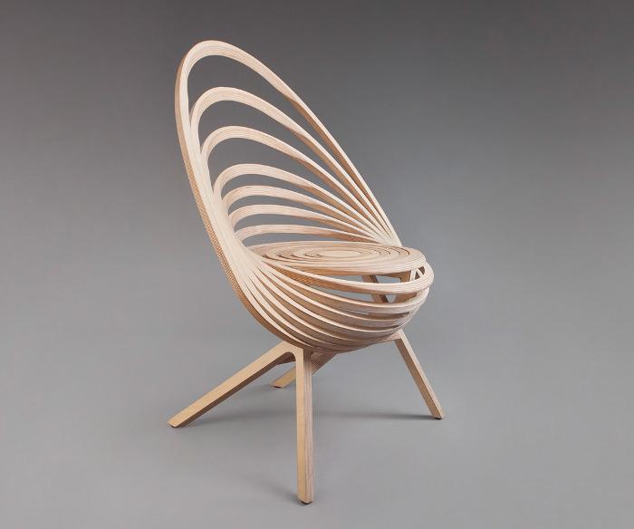 Octave fauteuil design spirale bois france designer estampille 52 ecole boull - Fauteuil de designer ...