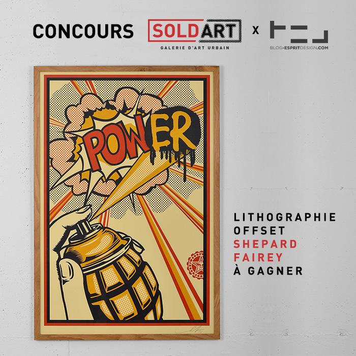 CONCOURS une lithographie de Shepard Fairey pour SoldArt à GAGNER