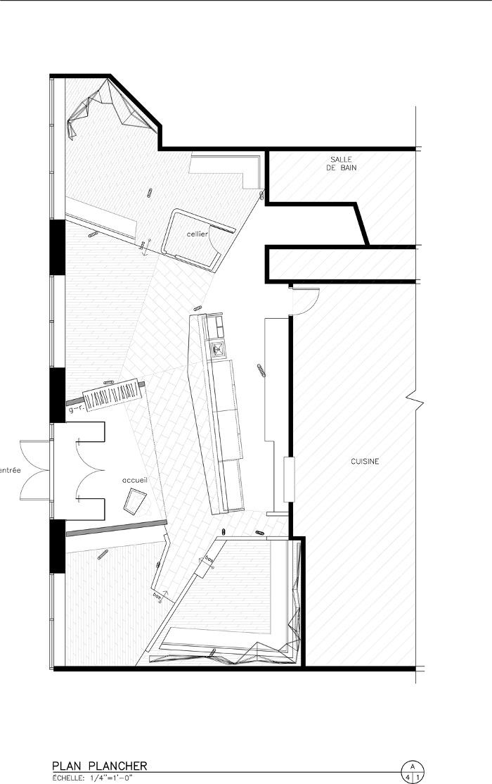 Plan architecture - Restaurant Canada : Chez Carl par le studio Jean De Lessard