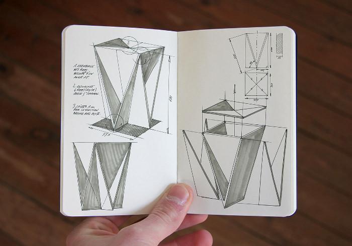Croquis- Stool Concept tabouret origami par Guillaume Allemon