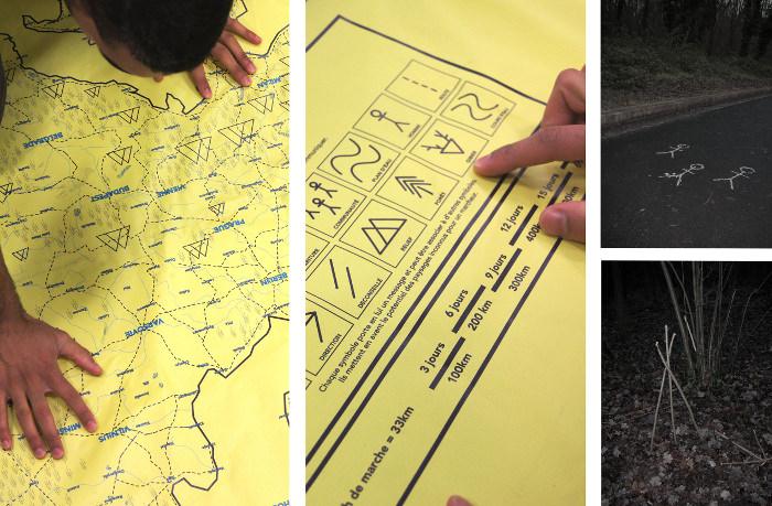 Marche et vie : réflection à partir d'un scénario apocalyptique, protocole de communication, carte et carnet de vie. Florian Dach & Dimitri Zephir