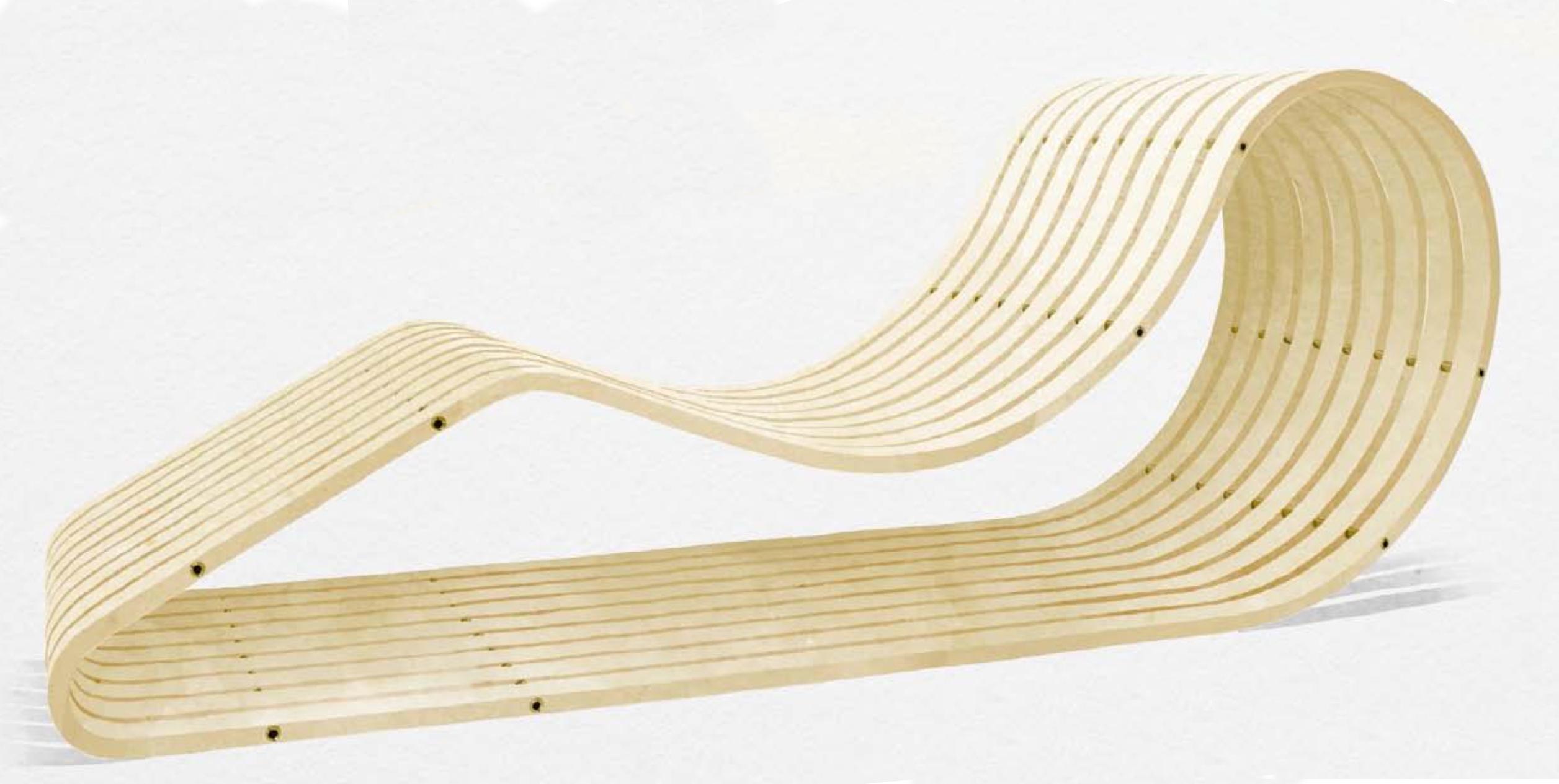Thomas Lemut, Chaise longue Luge Frêne et laiton
