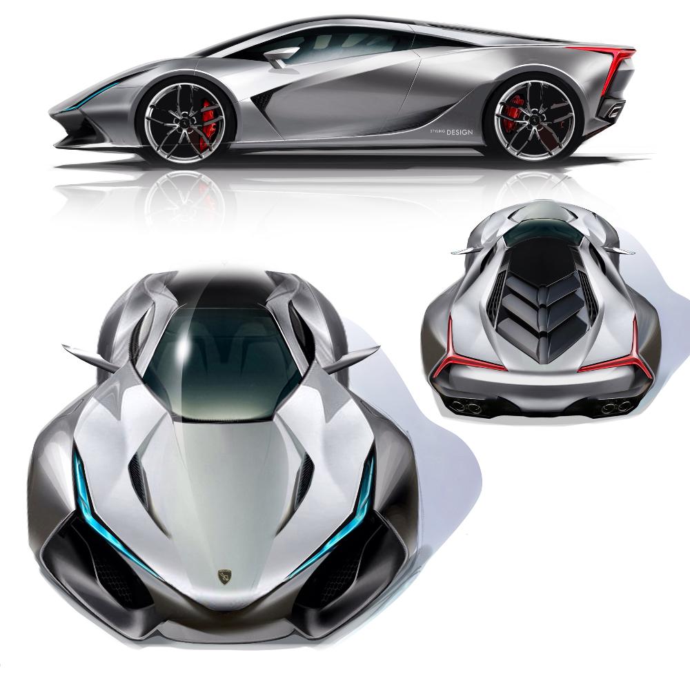 L.A. Vision Concept car sketches par Daisuke Iguchi