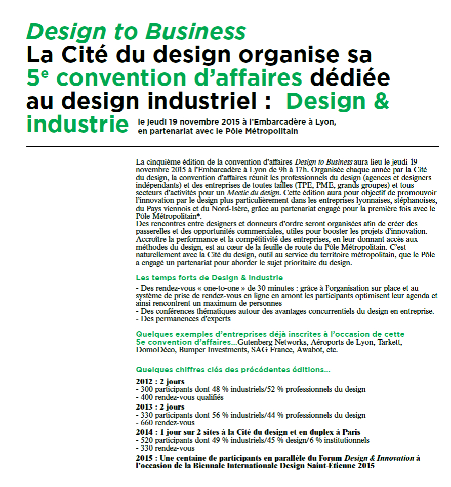 Agenda : Design to business 2015