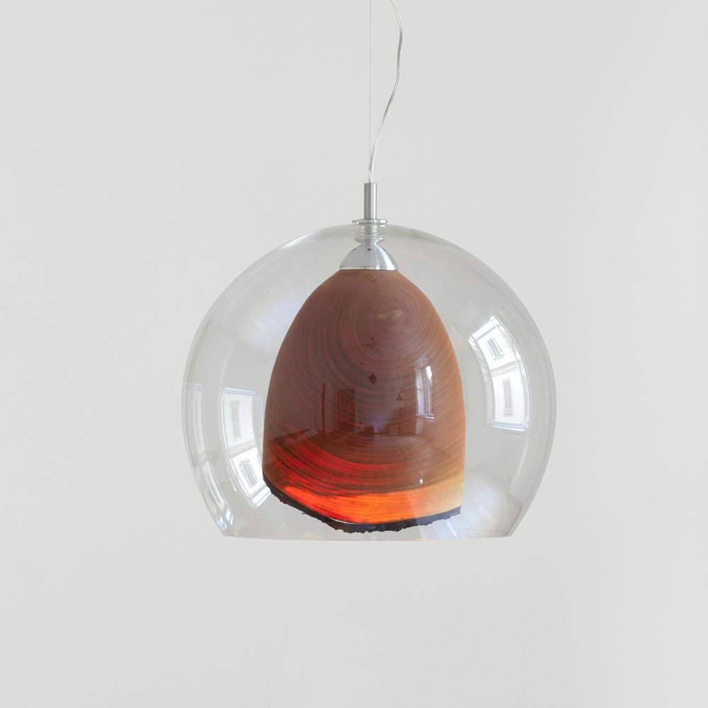 Teca suspension bois et verre par Marco Parolini