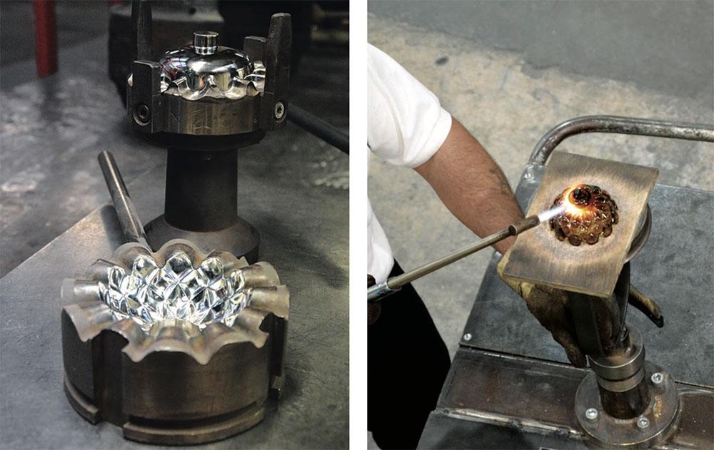 Moule en deux parties d'une bobèche (à gauche) Travail au chalumeau d'une bobèche (à droite) © Nathalie Mohadjer pour Saint-Louis