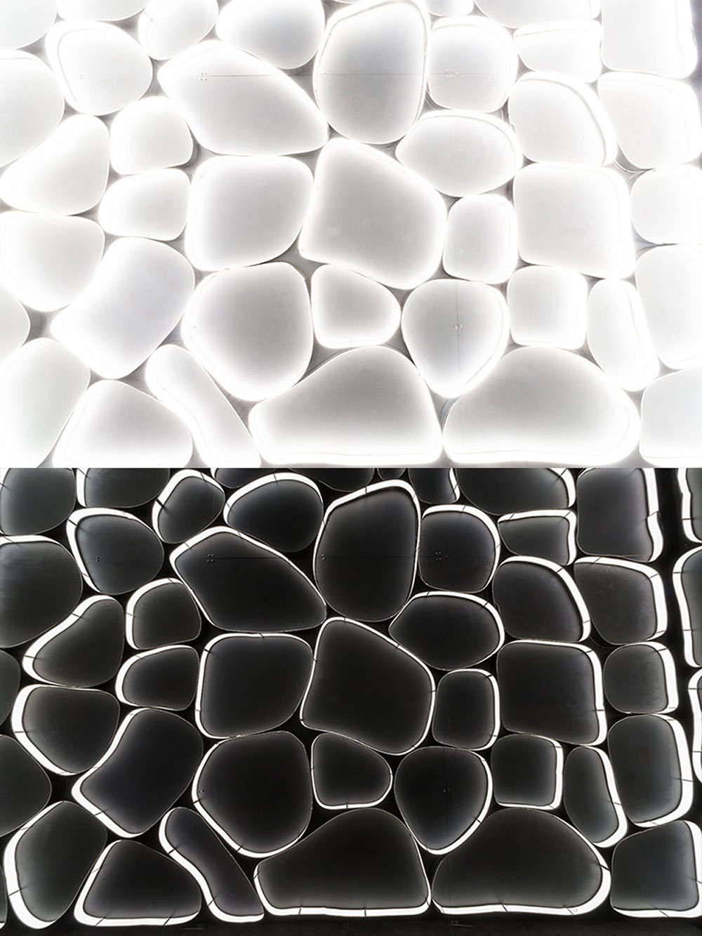"Installation lampes led ""Flexible OLED"" par Thierry Gauguin pour BlackBody (bas) Interprétation artistique ""white Flexible OLED"" de la version originale Flexible OLED par Seen By Kloé pour Blog Esprit Design (haut)"