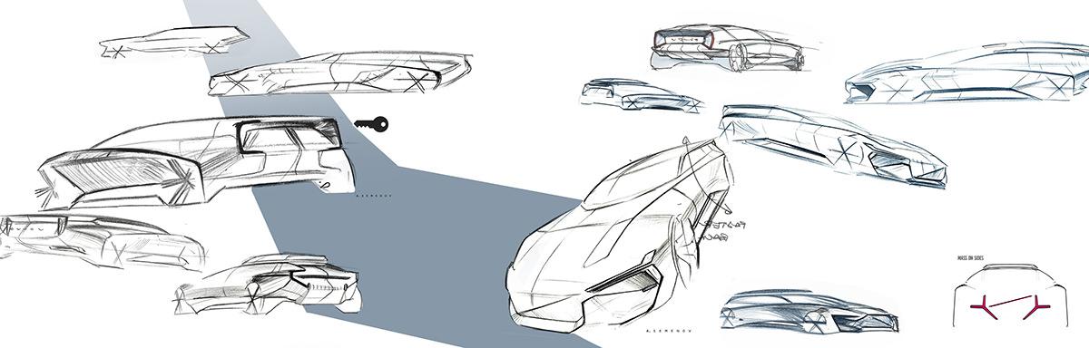 Sktech - Volvo Opulence concept car vision 2027 par Alexey Semenov