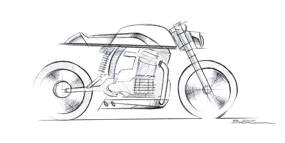 Moto CX500 Streamline aluminium par Dimitri Bez