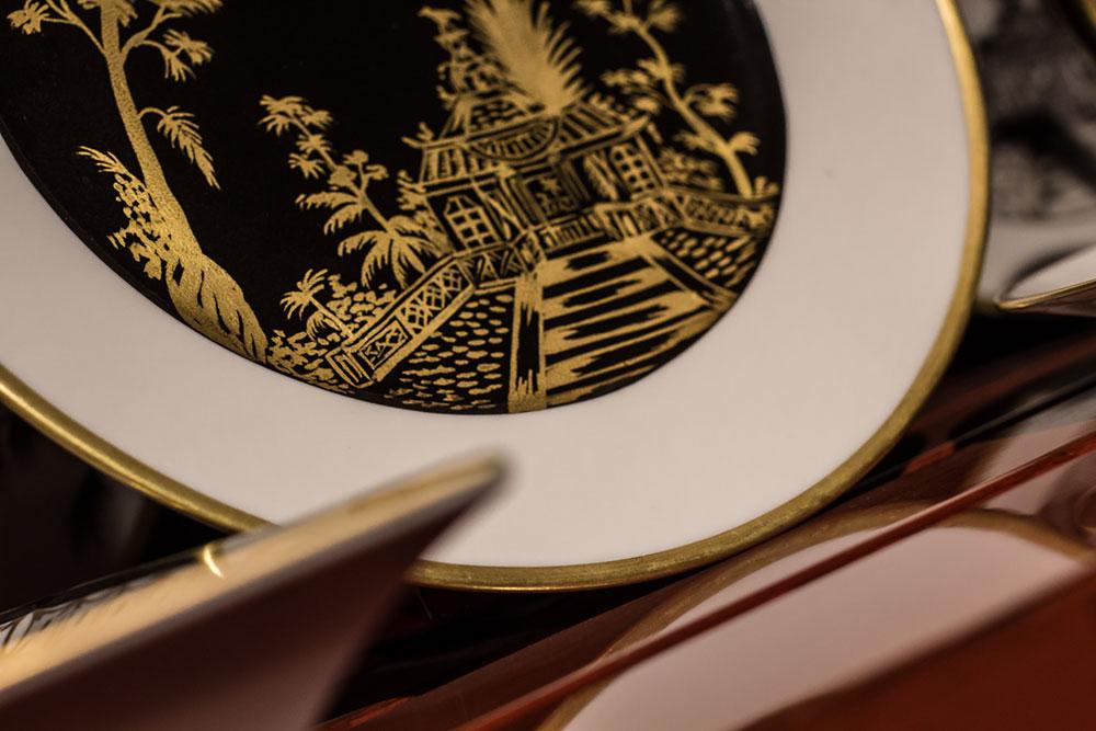 Assiette dessert Vieux Kyoto, en porcelaine de Limoges - Peint à la main (détails)