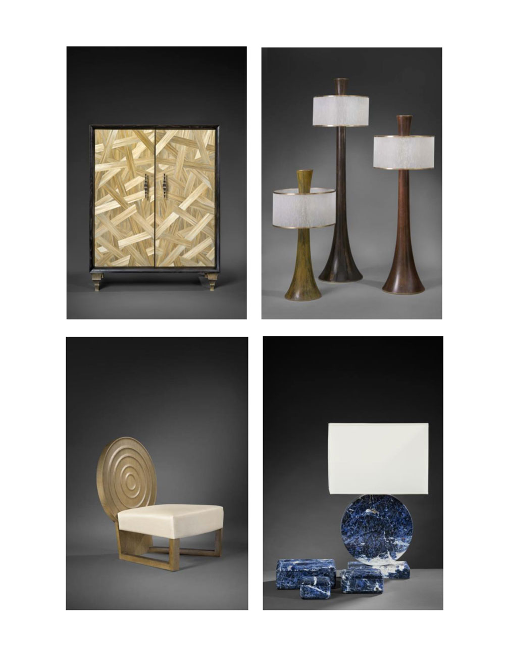 Cabinet Titan (h.g.), Lampes Faros (h.d.), Fauteuil Héraclès (b.g.), Lampe Lua Media (b.d.) © Jacques Pepion
