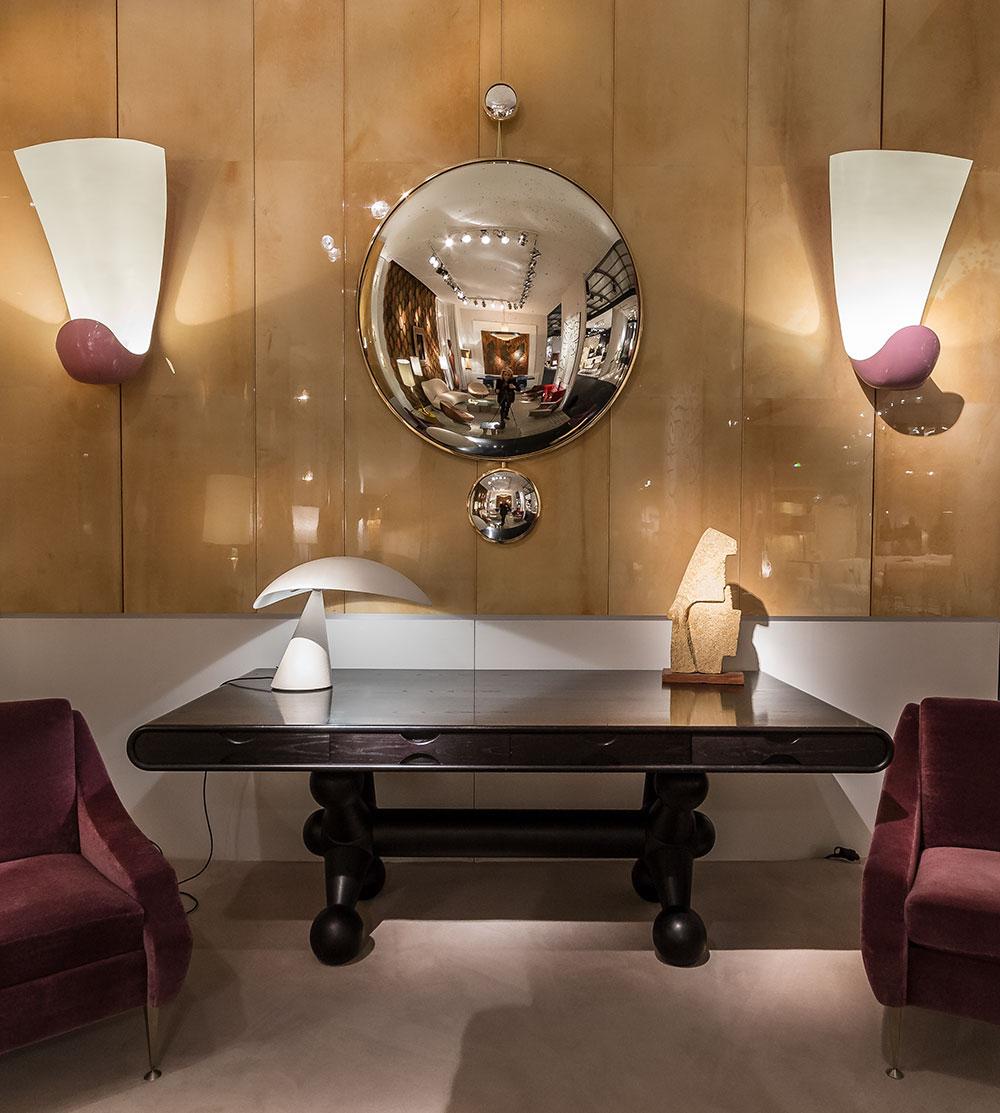 Miroir Sorcière (surface plane au centre, surface concave aux extrémités) par Jacques Hervouet - Galerie Hervouet © Seen By Kloé pour Blog Esprit Design