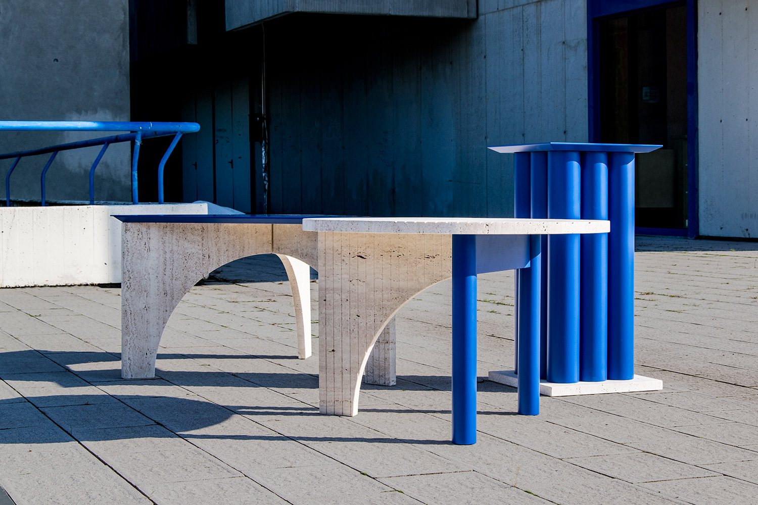 TuttoSesto tables bois et travertin par Davide Aquini