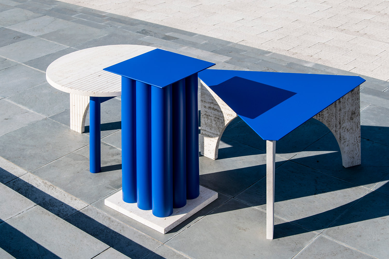 TuttoSesto tables bois et travertin par Davide Aquini