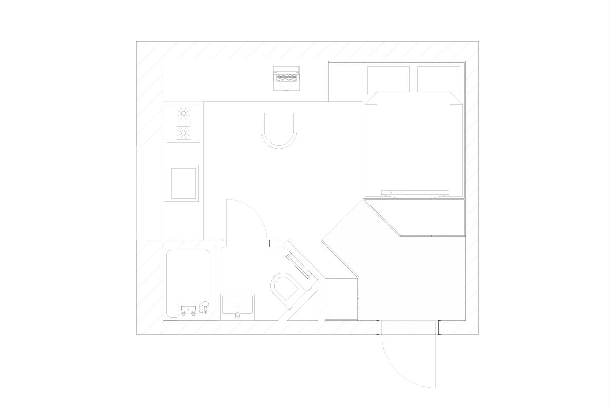 Odessa, le studio rénové et fonctionnel de 17m2 conçu par Fateeva Design