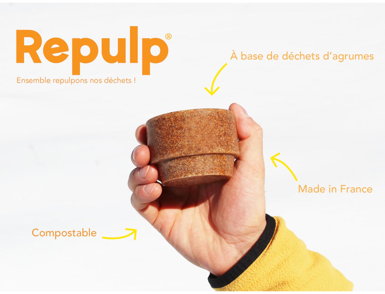 Crowdfunding : La tasse à base de déchets d'agrumes par Repulp