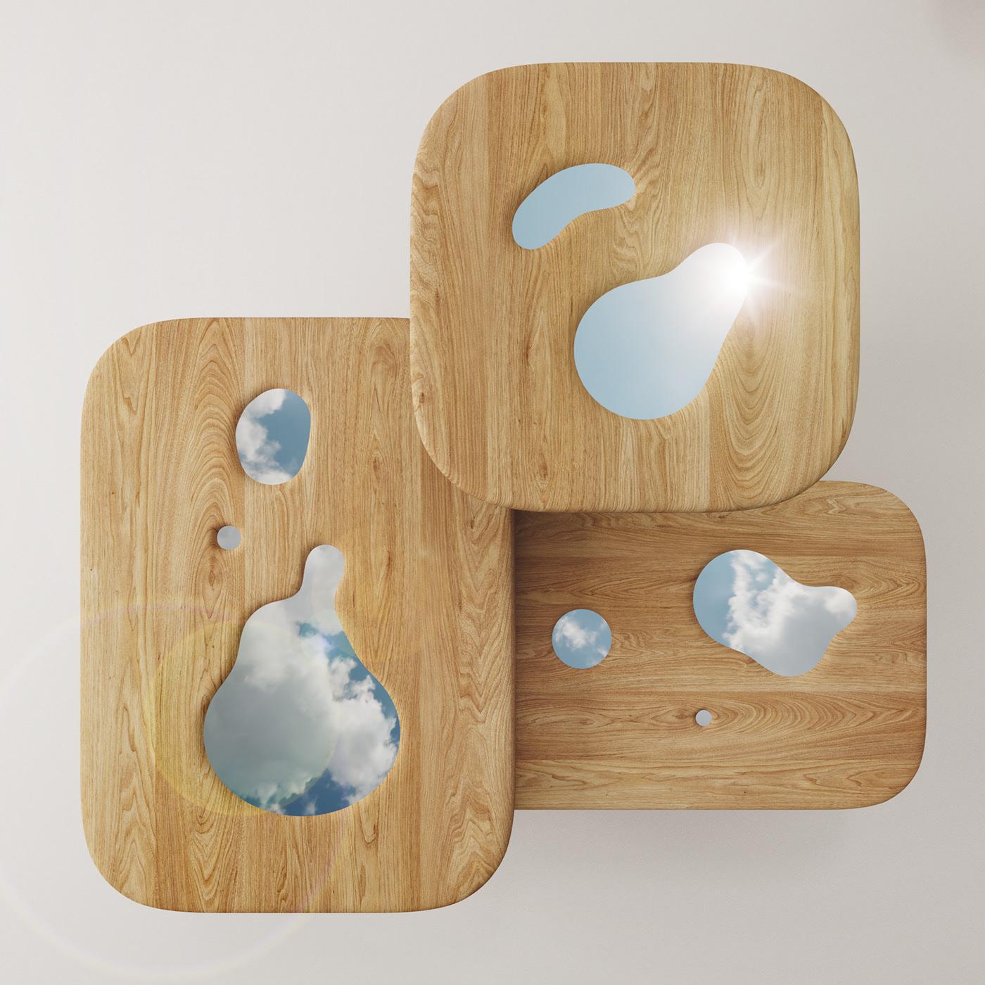 OZ tables bois et miroir par Nikita Bukoros